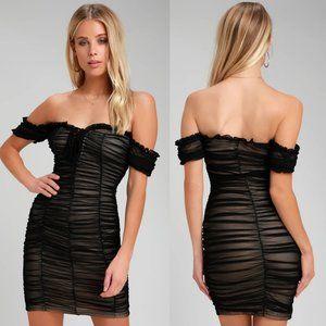 Lulus Black Alto Mesh Ruched Off Shoulder Dress